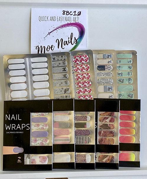 10 Piece Nail Polish strips Sampler - 8BC10