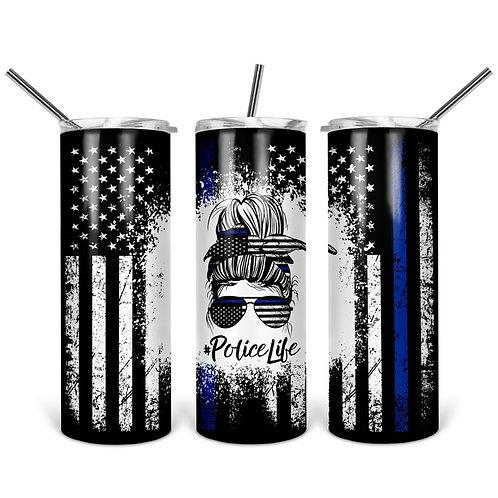 Police Life Messy bun - Sublimated Drinkware