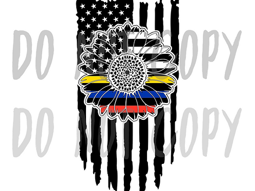 First Responder Sunflower Flag - Sublimated Drinkware