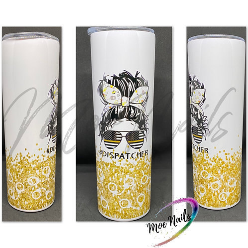 Messy Bun Dispatcher GOLD - Sublimated Drinkware