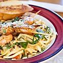 Pasta Primavera w/Shrimp Skewers