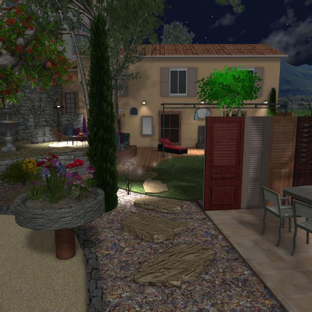 Vue jardin de nuit