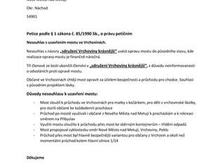 Petice za znovuotevření mostu ve Vrchovinách