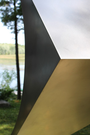 detail of stainless steel public sculpture
