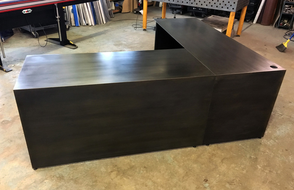Blackened steel desk