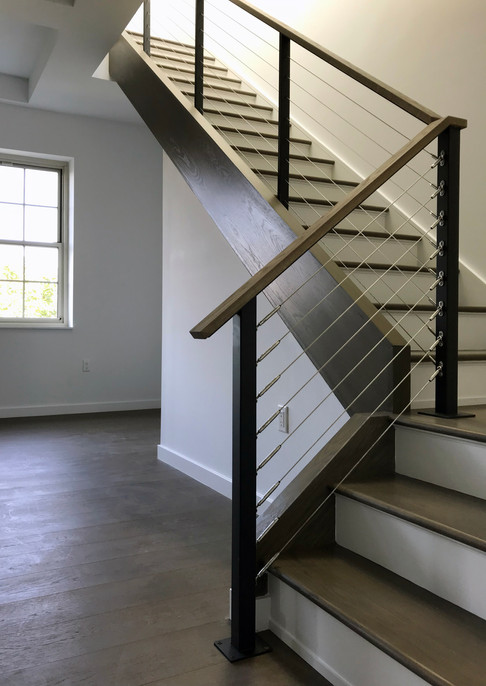 Steel railing with cable infill