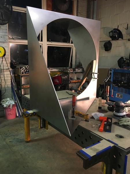 stainless steel sculpture in progress