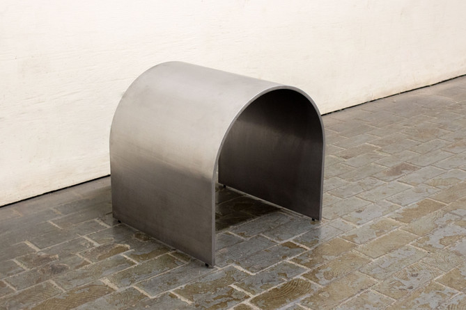 Arched steel stool