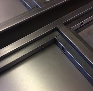 detail of custom steel doors