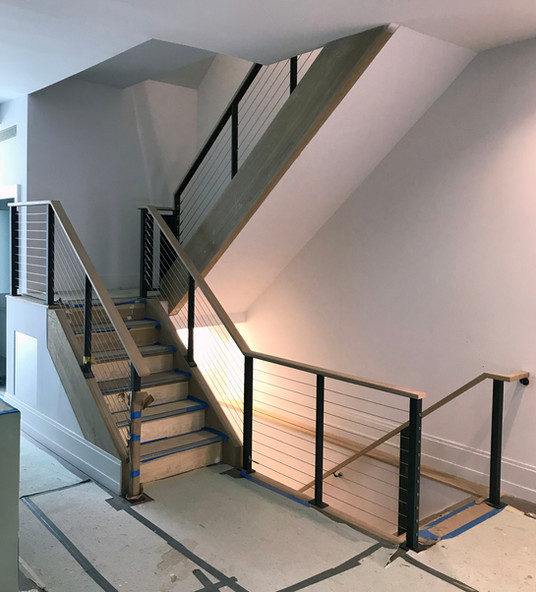 Installation of custom cablerail handrail