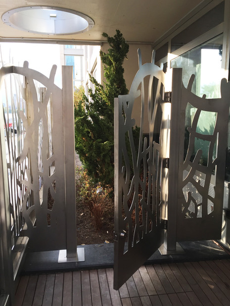 detail of stainless steel fence