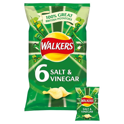 Walkers Salt & Vinegar Multipack Crisps 6 x 25g