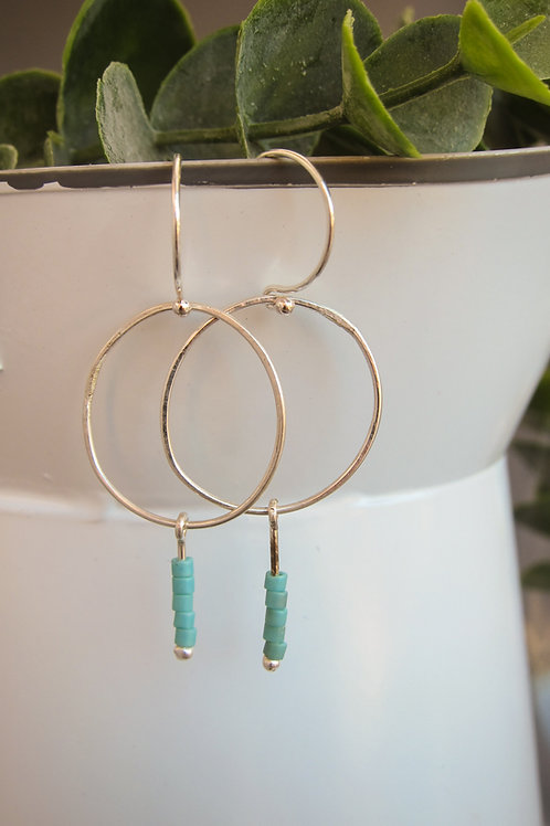 Circle Drop and bead earrings