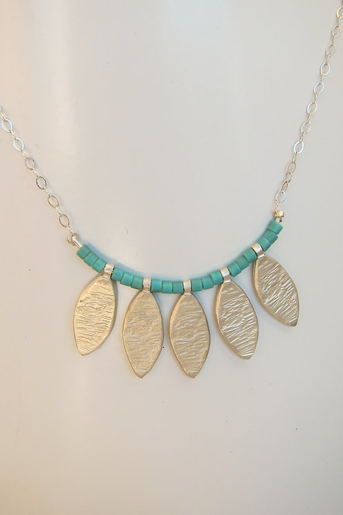 five leaf and bead dangle necklace