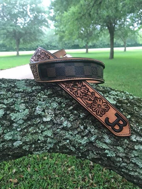 Floral Tooled Belt with Louie Vuitton Inlay