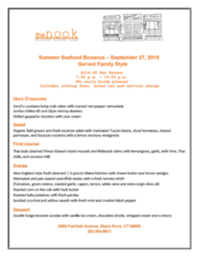 Seafood bonanza menu - The Nook Septembe