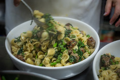 Orechiette with spicy sausage and fresh greens