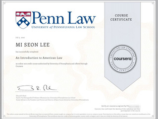 An introduction to American Law course certificate