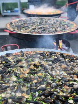 Three big pans cooking away!