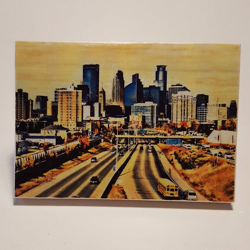 Minneapolis Skyline Wood Block