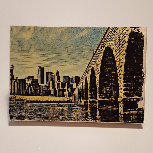 Stone Arch Bridge Wood Block