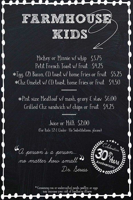 Kids menu farmhouse gilbert breakfast lunch