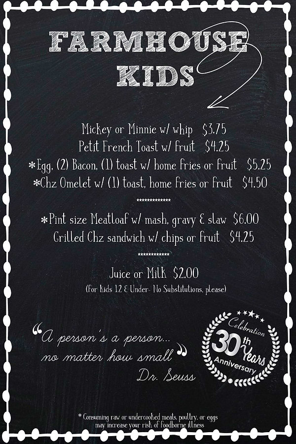 Kids menu farmhouse gilbert breakfast lunch