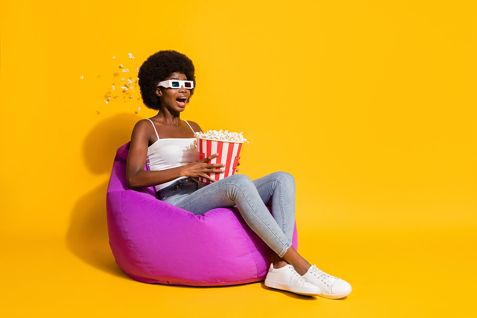 Photo of frightened scared young woman wear casual clothes 3d eyewear sitting bean bag hol