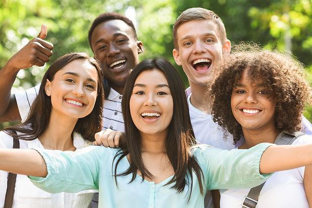 Selfie Fun. Group of multi-ethnic teen f