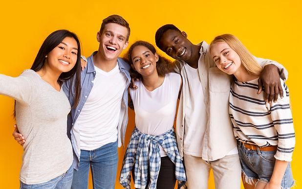 Friendly international group of teenager