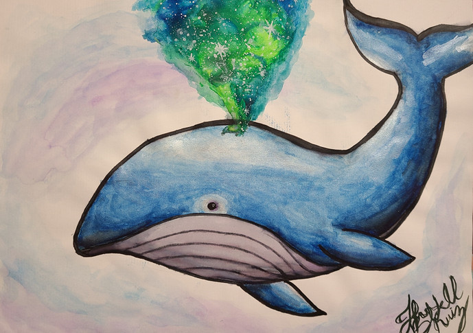 This painting represents the mind-blowing experience and magnificence of whales. I have always found these creatures to be mystical and unrealistic. Depending on the species, a whale can live up to 268 years. (Bowhead whale.) Along with Elephants and turtles, I believe they would be the wisest animals on earth. That is why, in this painting, as the whale exhales, she releases a whole universe of knowledge.  Submitted by: Jennifer Blackaller Ruiz