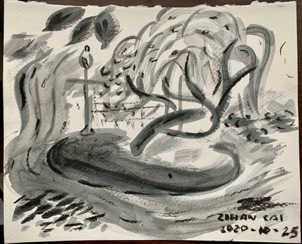 Willow charcoal and acrylic paint on Stonehenge paper.  In elementary school, Laurie, Sang Ho, Shannon and I would play in Westmount Park and climb on the100-year old willow tree in the center of the man-made river. At that time, the willow was supported by metal poles bending out from the side horizontally, making it perfect for climbing and sitting. Between the four of us, we would see who could jump off the highest point in the tree. Dangerous as it might seem, none of us ever got hurt. It was a time where 10-year olds could wander about the park alone without their parents and not get in trouble. We'd play outside until the sun set.  When I came back to Montreal after university, I noticed the tree wasn't there anymore. Someone told me that a thunderstorm had finally struck the tree down.  But in my mind, it is still there. This is the willow that reminds me to protect nature – otherwise it will no longer be there for me to show to someone else.  Submitted by: Zihan Cai
