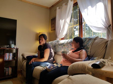 Iris and Marleni visiting and drinking coffee in my home before starting discipleship.