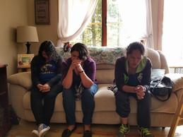 Praying with Iris, and Veronica.