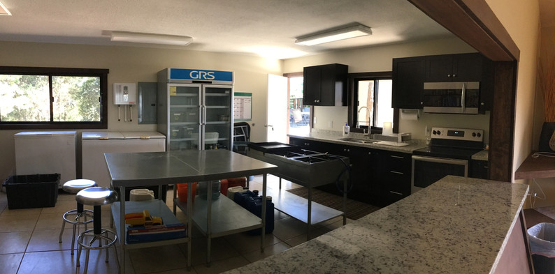 Equipped with an industrial style kitchen and serving bar, our meals are top notch. The entire compound has purified water.