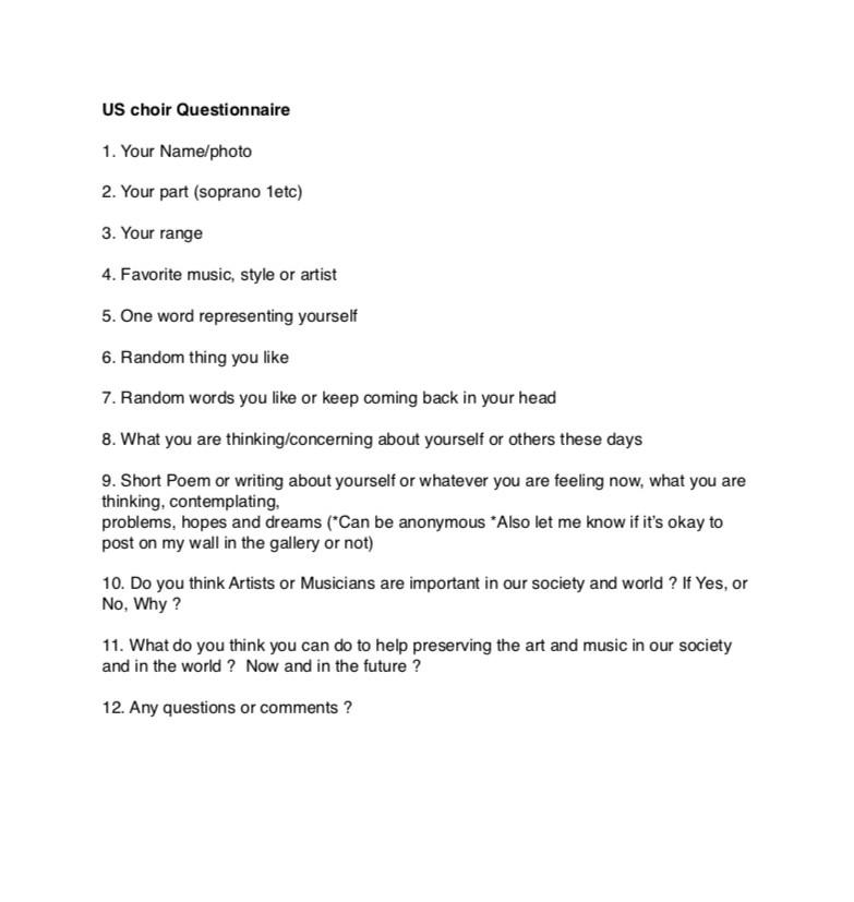 US Choir Questionnaire