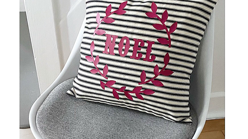 Canvas striped NOEL printed cushion