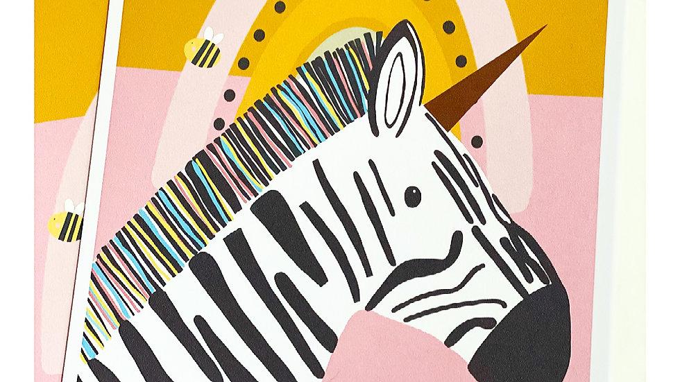 Florence the Zebra illustration A3 Print