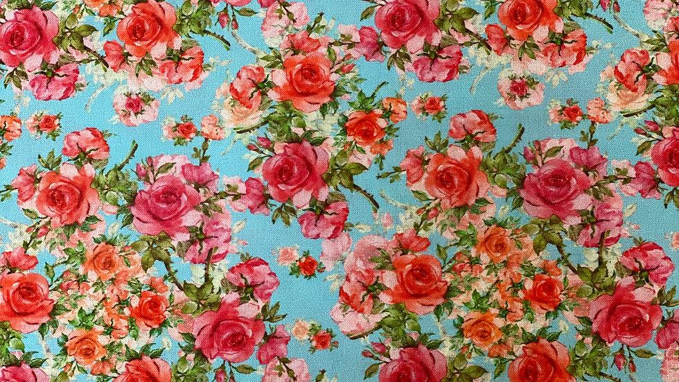 Roses - Digital cotton price per half a metre