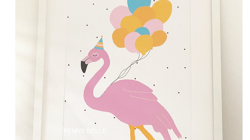 Rosa the flamingo with balloons   A3 (print only)