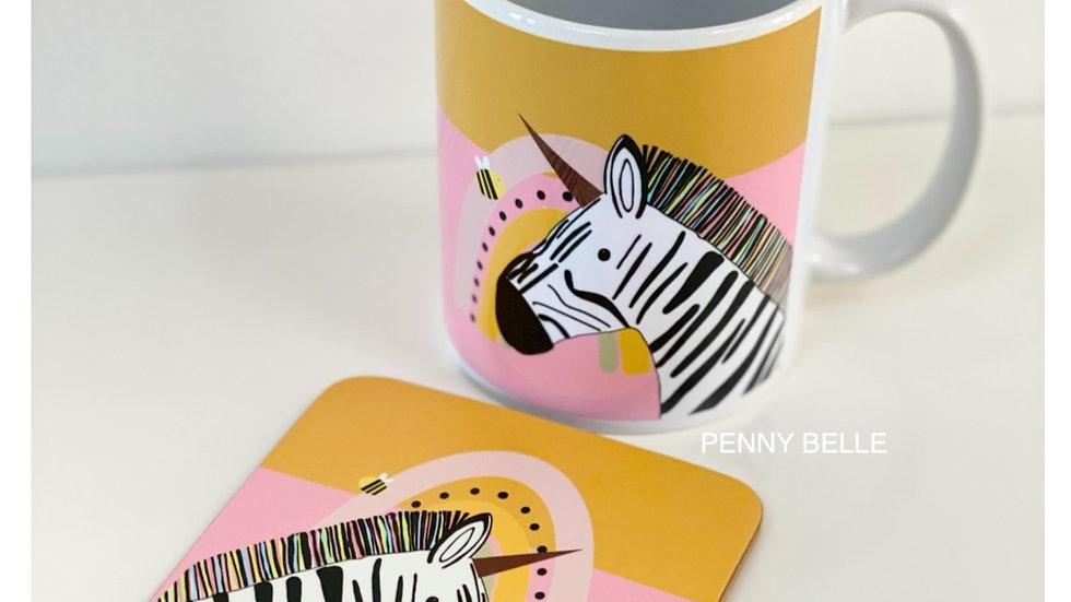 Florence the Zebra -  Mug & Coaster set