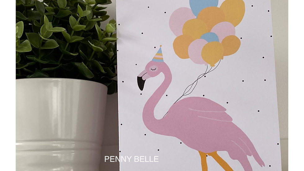 Rosa the flamingo with balloons card