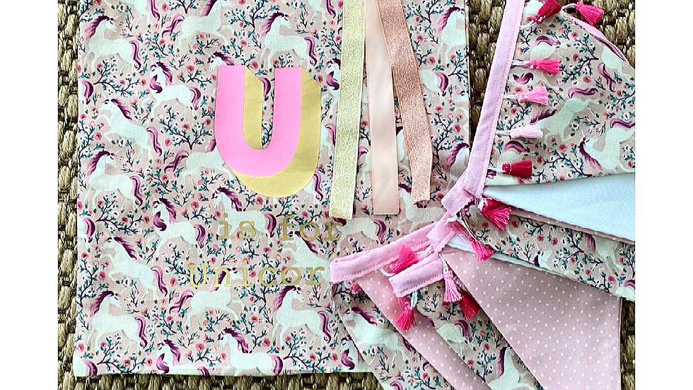U is for Unicorn Bunting & Book bag