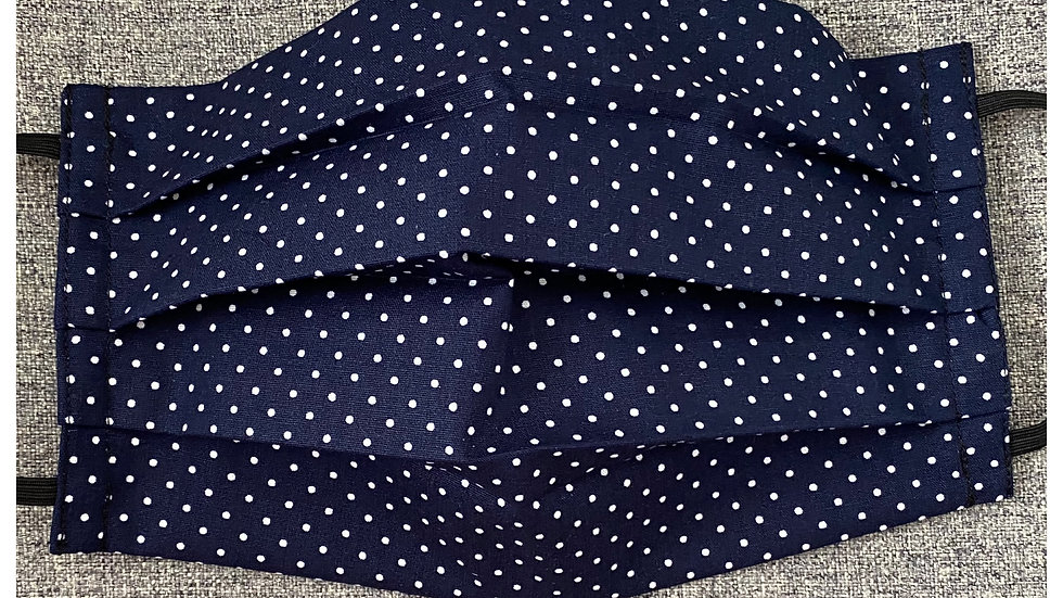 Navy & white pin stop face covering