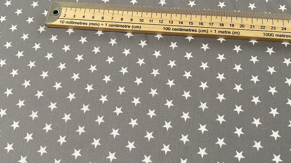 Grey cotton fabric with white stars, Sold per metre