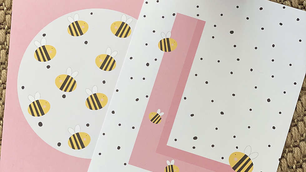 Personalised initial with Bees A4 print set