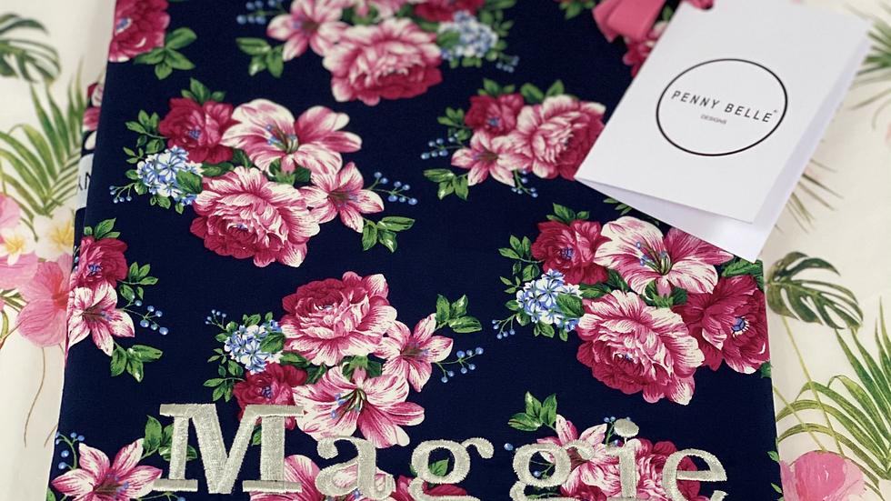 Navy Floral reversible shoppers bag