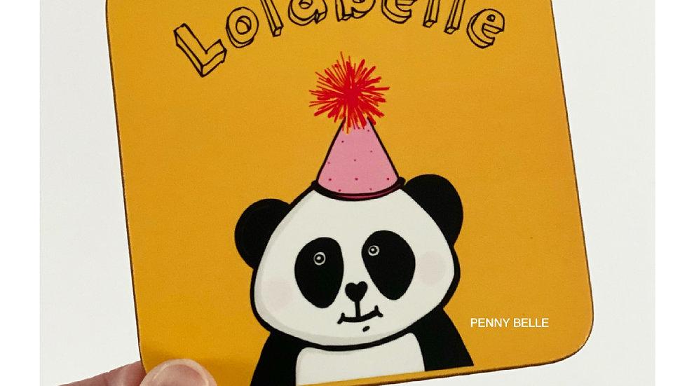 Personalised Lunar the panda Coaster