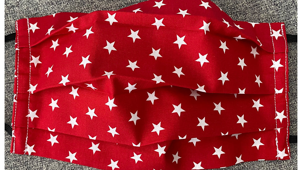 Red & white star face covering