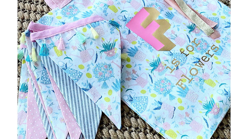F is for Flowers Bunting &Book Bag